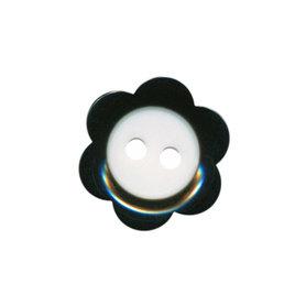 Bloemknoop zwart met wit hart 18 mm (ca. 50 stuks)