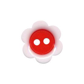 Bloemknoop wit met rood hart 18 mm (ca. 50 stuks)