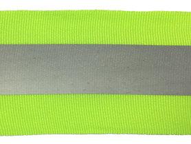 Fluoriserend geel/groene grosgrainband met reflectiestreep 50 mm (ca. 10 meter)