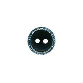 Knoop met glitter rand zwart 11 mm (ca. 100 stuks)