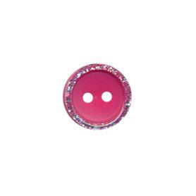 Knoop met glitter rand fuchsia 11 mm (ca. 100 stuks)