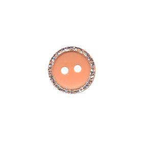 Knoop met glitter rand zalmroze 11 mm (ca. 100 stuks)