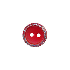 Knoop met glitter rand rood 11 mm (ca. 100 stuks)
