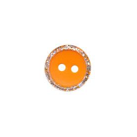 Knoop met glitter rand oranje 11 mm (ca. 100 stuks)