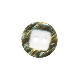 Knoop wit met opstaande rand gestreept wit/bruin 15 mm (ca. 50 stuks)