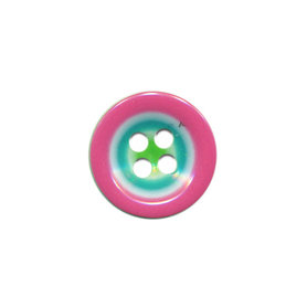 Knoop groen met roze-wit-aqua rand 15 mm (ca. 50 stuks)