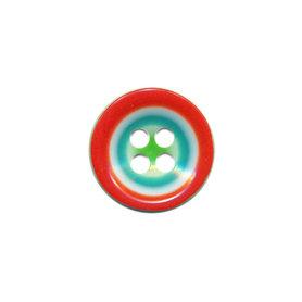 Knoop groen met rood-wit-aqua rand 15 mm (ca. 50 stuks)
