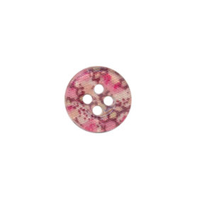 Knoop met bloemenprint roze/aubergine 12 mm (ca. 100 stuks)
