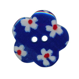 Bloemknoop kobalt blauw met bloemenprint 25 mm (ca. 25 stuks)
