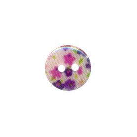 Knoop met bloemenprint roze/paars 12 mm (ca. 100 stuks)