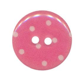 Knoop roze met witte stippen 25 mm (ca. 25 stuks)