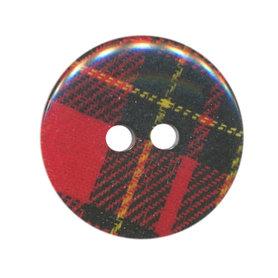 Knoop geruit rood-zwart 25 mm (ca. 25 stuks)
