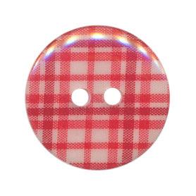 Knoop geruit rood/wit 25 mm (ca. 25 stuks)