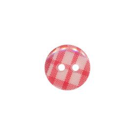 Knoop geruit rood/wit 12 mm (ca. 100 stuks)