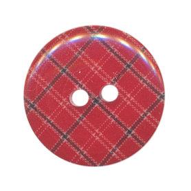 Knoop geruit rood/blauw 25 mm (ca. 25 stuks)