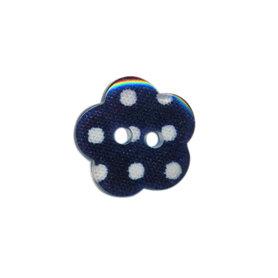 Bloemknoop donker blauw met witte stip 15 mm (ca. 50 stuks)