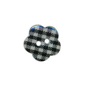 Bloemknoop geruit zwart/wit 15 mm (ca. 50 stuks)