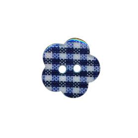 Bloemknoop geruit donker blauw/wit 15 mm (ca. 50 stuks)