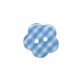 Bloemknoop geruit licht blauw/wit 15 mm (ca. 50 stuks)