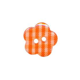 Bloemknoop geruit oranje/wit 15 mm (ca. 50 stuks)
