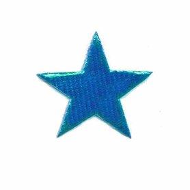 Applicatie glim puntige ster blauw 30 mm (ca. 100 stuks)