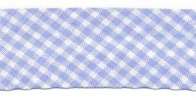 Blauw-wit geruit biaisband 25 mm (ca. 10 meter)