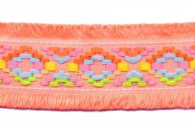 Peach/oranje franjeband Ibiza stijl met franjes aan beide zijden 45 mm (ca. 5 m)