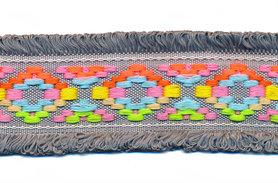 Grijs franjeband Ibiza stijl met franjes aan beide zijden 45 mm (ca. 5 m)