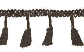 Band met kwastjes zwart 50 mm (ca. 10 meter)