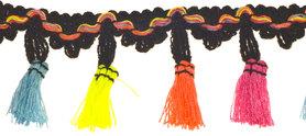 Band met kwastjes zwart-geel-fuchsia-blauw-oranje 50 mm (ca. 10 meter)