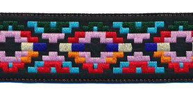 Sierband Inca stijl zwart-roze-rood-blauw 25 mm (ca. 22 m)
