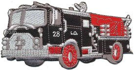 Opstrijkbare applicatie brandweerauto zwart (5 stuks)