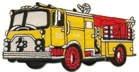 Opstrijkbare applicatie brandweerauto geel (5 stuks)