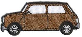 Opstrijkbare applicatie auto 'Mini' bruin (5 stuks)