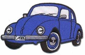 Opstrijkbare applicatie auto 'VW Kever' blauw (5 stuks)