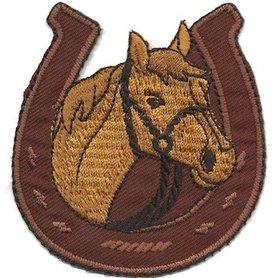 Opstrijkbare applicatie paard in hoefijzer bruin (5 stuks)