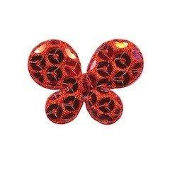 Applicatie vlinder met pailletten rood 35 x 25 mm (10 stuks)