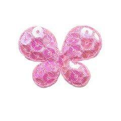 Applicatie vlinder met pailletten roze 35 x 25 mm (10 stuks)