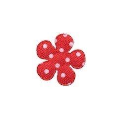 Applicatie bloem rood met witte stippen satijn klein 20 mm (ca. 100 stuks)