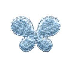 Applicatie vlinder licht blauw satijn effen middel 35 x 25 mm (ca. 100 stuks)