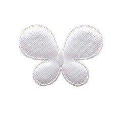 Applicatie vlinder wit satijn effen middel 35 x 25 mm (ca. 100 stuks)