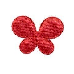 Applicatie vlinder rood satijn effen middel 35 x 25 mm (ca. 100 stuks)