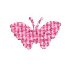 Applicatie geruite vlinder fuchsia-wit middel 40 x 25 mm (ca. 100 stuks)