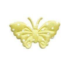 Applicatie vlinder geel met witte stippen satijn middel 40 x 25 mm (ca. 100 stuks)