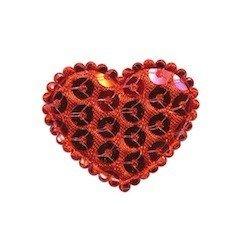 Applicatie hart met pailletten rood middel 35 x 30 mm (10 stuks)