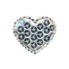 Applicatie hart met pailletten zilver middel 35 x 30 mm (10 stuks)