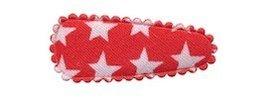 Haarkniphoesje rood met witte sterren 3 cm (ca. 100 stuks)