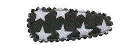 Haarkniphoesje zwart met witte sterren 3 cm (ca. 100 stuks)