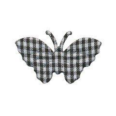Applicatie geruite vlinder zwart-wit middel 40 x 25 mm (ca. 100 stuks)