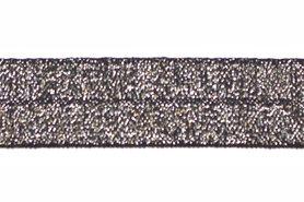 Zilver op zwart #004 elastisch biaisband 20 mm (ca. 25 m)